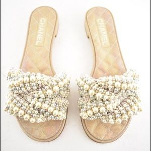 Ivory Chanel 18s Pearl Fantasy Calfskin Sandals